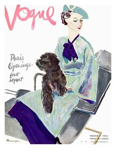 Vogue Cover - March 1935 Regular Giclee Print by Pierre Mourgue at Art.com