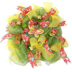 Butterfly and Birdhouses Spring Whimsey wreath handcrafted by Gina Carter-Small, Bluegrass Kraft Korner Facebook group. Drop in and say hello!