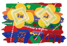 "Albert Irvin - ""Deptford"", Screenprint with woodblock, Edition size: Image size: 60 x Paper size: 76 x PRICE: ex VAT Howard Hodgkin, Natural Forms, Limited Edition Prints, Paper Size, Printmaking, Screen Printing, Symbols, Colorful, Fine Art"