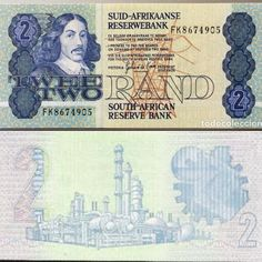 South Africa 2 Rand Blue, green, and brown. From: Bilingual text with Alrikaans predominating over English; Money Template, Templates Printable Free, Sell Coins, Barbie Accessories, Coin Collecting, South Africa, Vintage World Maps, Afrikaans, History