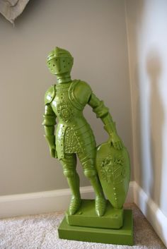 on guard-put a knight to stand guard in kids room or by door, put in front of a light to create a knight light. hee hee, paint solid to match room