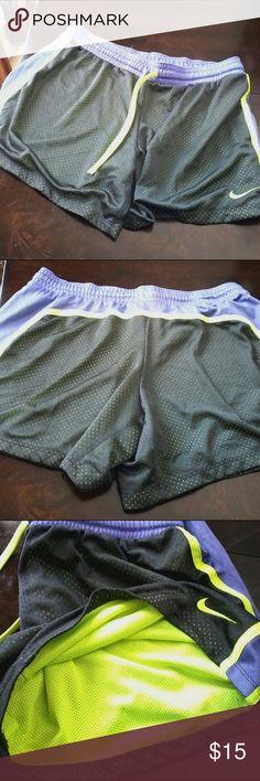 Nike dry fit shorts Purple waist band band neon drawstring, mesh with neon lining Nike Shorts