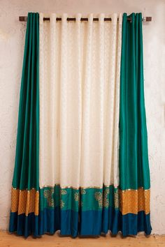 Items similar to Teal blue silk and white jacarde curtains on Etsy Teal blue silk and white jacarde curtains Indian Home Interior, Home Interior Design, Interior Decorating, Ethnic Home Decor, Indian Home Decor, Diy Room Decor, Living Room Decor, Bedroom Decor, Home Curtains