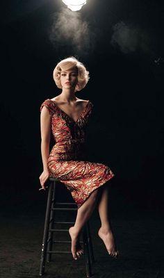 Steven Meisel | Vogue Italia | Prada | glamour | lighting | pose idea | blonde | gown | fashion | editorial