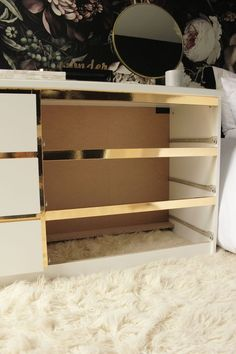 Ikea Hack, Customize and Glamorize a Malm dresser with gold contact paper Ikea Furniture, Furniture Makeover, Painting Furniture, Diy Painting, Furniture Stores, Furniture Ideas, Bedroom Furniture, Ikea Dresser Makeover, Paper Furniture
