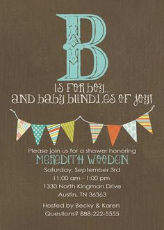 B is for boy baby shower invitation