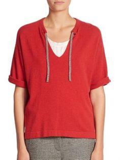 Brunello Cucinelli - Tie-образным вырезом кашемировый пуловер