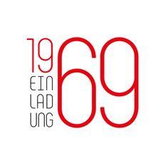 Tolle Einladungskarte zum 50. Geburtstag in grafischem Look mit großer 69 in Rot. #50geburtstag #1969 #geboren1969 #einladung50geburtstag #einladung1969 #einladunggeburtstag