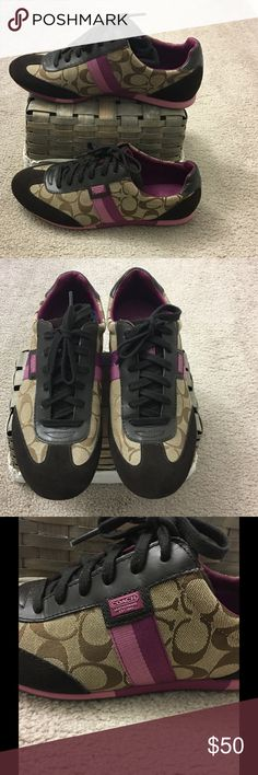 Coach Joss Sneakers Authentic signature fabric & suede with purple and lavender stripes. Used, but like new and very clean Coach Shoes Sneakers