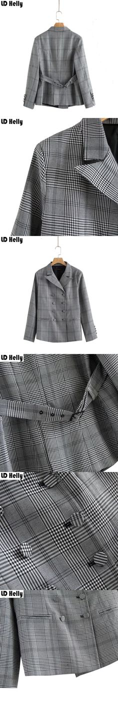 LD Helly 2017 Vintage Plaid Women Blazers Coat Office Pockets Notched Collar Double Breasted Casual Brand Coats Tops Outerwear