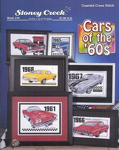 Stoney Creek Collection Cars Of The 60's - Cross Stitch Pattern. Classic cars of the 60's including a 1967 Mustang GT 500 stitch count 161x95, 1969 Plymouth GTX
