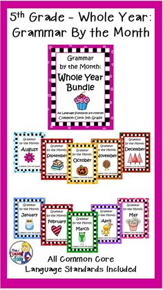 A Grammar Bundle for the whole year that is thematic based! Covers all Common Core language standards and those standards are spiraled, so kids can have repeated practice to keep their skills fresh!. 5th graders will love learning Grammar this way! $
