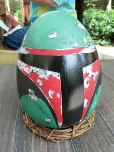 A Boba Fett egg on display at Disneyland's Springtime Roundup. Photo by Adrienne Vincent-Phoenix | MousePlanet
