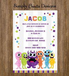 Little Monster Birthday Invitation 5x7  by SimplyCreateDesigns, $7.50