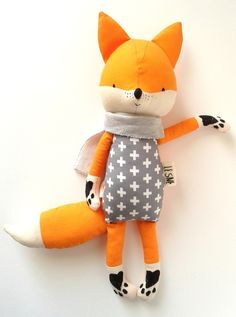 BO the fox. gift for children. kids room decorative fox - ALL ABOUT Fox Kids, Fabric Toys, Sewing Toys, Felt Toys, Felt Animals, Softies, Plushies, Diy Toys, Handmade Toys