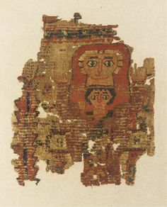 A COPTIC FRAGMENTARY TEXTILE HANGING OF THE VIRGIN AND CHILD   CIRCA 5TH-6TH CENTURY A.D.   The Virgin with both arms raised in adoration, wearing a red mantle around her head, the Christ child seated on her lap, a garland around his short black hair, his right hand raised in blessing, a vertical foliate border on one side, undyed linen woven with looped wool in red, brown, ochre, green, blue and yellow, mounted  22 x 18 in. (56 x 45.7 cm.) max.