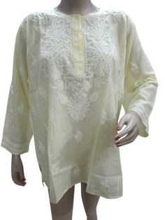 Amazon.com: Lemon Yellow Tunic Top, Cotton Embroidered Kurti, Yoga Tunic for Women Xl: Clothing