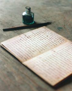 Old-fashioned cursive writing
