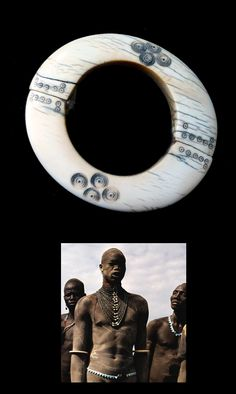 South Sudan | Old armlet from the Dinka people | Ivory; two separate pieces joined together with natural fiber. 10.4 cm. 77 gr | 650€ || Insert shows a Dinka man wearing similar armlets. Photo by Angela Fisher