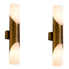 Cylindrical Solid Brass Sconces with Opaline Glass Shades