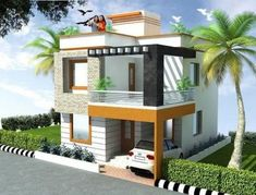 Indian house front elevation photos balcony grill indian house elevation of Modern Home Design, Unique House Design, House Front Design, Home Design Plans, Duplex House Plans, Bungalow House Design, Front Elevation Designs, House Elevation, Indian House Plans