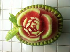 A flower carved into a watermelon!
