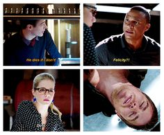 "Arrow - 2x09 Three Ghosts - ""He dies if I don't"" - Diggle, Barry Felicity. I love now Diggle looks to Felicity. He understands that Oliver trusts her with his life, and so Diggle will too."