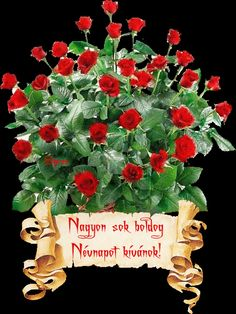 Névnapodra szeretettel... Birthday Name, Happy Birthday, Morning Love Quotes, Name Day, Love Rose, Topiary, Cut Flowers, Birthday Decorations, Flower Arrangements