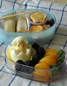 Super Easter appropriate chick-in-an-egg bento lunch boxes.