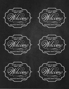 "Custom Wedding Welcome Bag Labels, 3.25"" x 4"", Printable, DIY, Chalkboard, Tags, Labels, Stickers"