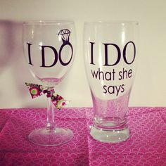 Set Of 2 Wine Glass and Beer Goblet I Do What by CustomByMelissa, $17.00