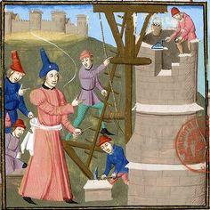 Construction de la Tour de Babel, Biblio. Mazarine, Paris, ms 3878 f. 009v, vers 1470-1480