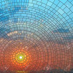 illustration of sunset in blue sky in sea, stained glass window. Standard-Bild - 17665609
