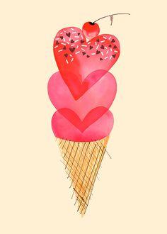 Margaret Berg Art: Hearts Ice Cream Cone