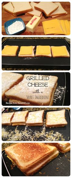 Grilled Cheese Sandwich with a secret ingredient! spread butter and sprinkle with powder sugar
