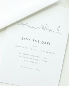The skyline of your destination city is the star of these modern and minimal save-the-dates by August and White Design.