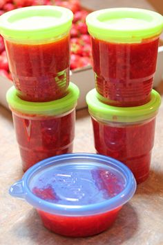 Strawberry freezer jam made with apple juice instead of sugar.