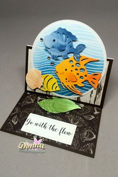 Hello everyone,   I am here with Scrapping Cottage blog  today to share with you an easel card.  I am loving these cute fish and shell dies....