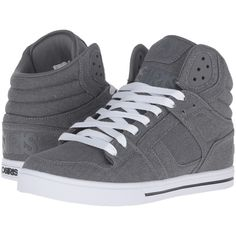 Osiris Clone (Grey/Denim) Men's Skate Shoes ($43) ❤ liked on Polyvore featuring men's fashion, men's shoes, men's sneakers, blue, mens hi tops, mens grey shoes, mens grey high tops, mens shoes and mens high tops