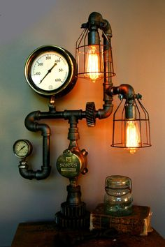 Lighting used on the set of The Big Bang Theory - Aired Antique brass pressure regulator. Use high grade (industrial grade) UL listed electrical components. Vintage Industrial Decor, Vintage Decor, Industrial Lamps, Industrial Style, Rustic Lighting, Cool Lighting, Usb Lamp, Steampunk Lamp, Steampunk Gadgets