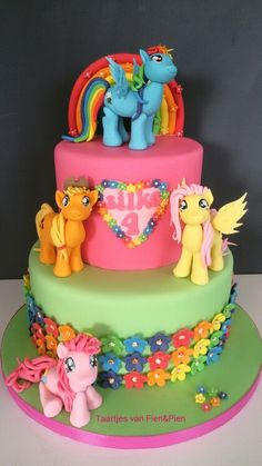 My Little Pony cake- love the flowers on the bottom tier