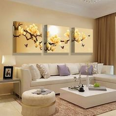 pictures on the wall on sale at reasonable prices, buy AtFipan poster canvas Wall Art orchids Decoration art oil painting Modular pictures on the wall sitting room cuadros Unframed from mobile site on Aliexpress Now! Living Room Sofa, Home Living Room, Living Room Furniture, Living Room Designs, Living Room Decor, Paint Colors For Living Room, Room Colors, Paintings For Living Room, Sofa Set Designs