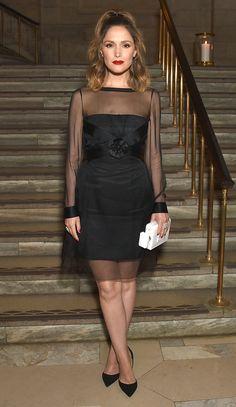 Rose Byrne in a black Chanel minidress