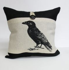 Decorative Throw Pillow Cushion Cover with Crow Raven Screen Print in Black Ink