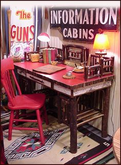 Rustic Twig Furniture, Hickory Lodge Desk Twig Furniture, Cabin Furniture,  Painted Furniture,