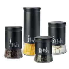 Home Basics Four-Piece Canister Set In Glass And Black