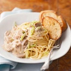 slow cooker Chicken Tetrazzini 2 1/2 pounds skinless, boneless chicken breast halves and/or thighs, cut into 1-inch pieces 2 4 1/2 - ounce jars (drained weight) sliced mushrooms, drained 1 16 - ounce jar Alfredo pasta sauce 1/4 cup chicken broth or water 2 tablespoons dry sherry (optional) 1/4 teaspoon ground black pepper 1/4 teaspoon ground nutmeg 10 ounces dried spaghetti or linguine 2/3 cup grated Parmesan cheese (3 ounces) 3/4 cup thinly sliced green onion (6)