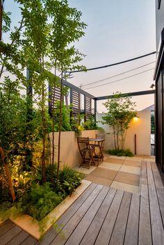 エクステリア、外構、ガーデン、お庭、アウトドアリビング、モダンデザイン、ザ・シーズン世田谷、デザイナー楢舘理佐、トワイライト、夕景、