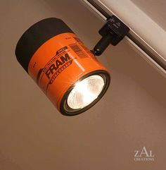 For a garage or man room - Oil filter Track light / Track head by ZALcreations on Etsy