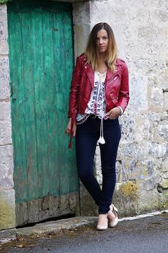 Get this look: http://lb.nu/look/8256669  More looks by Anne-Gaëlle Denay: http://lb.nu/rockngirly  Items in this look:  Aliexpress Red Perfecto, Mango Ethnic Blouse, Denim Levis, Mademoiselle R Nude Babies   #ootd #outfit #red #redperfecto #perfecto #jean #levis #ethnic #ethnicblouse